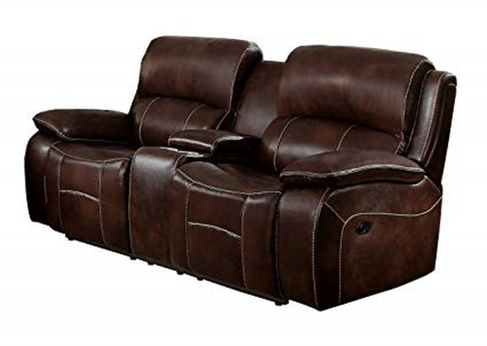 Homelegance Furniture Mahala Power Double Reclining Loveseat in Brown 8200BRW-2PW image