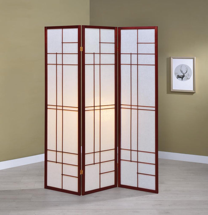 Transitional Brown Red Three-Panel Screen image