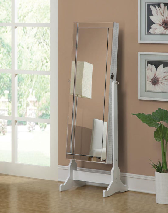 Transitional White Cheval Mirror and Jewelry Armoire image