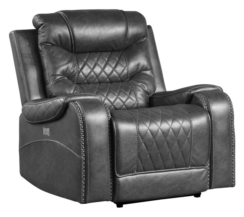 Homelegance Furniture Putnam Power Reclining Chair in Gray 9405GY-1PW image