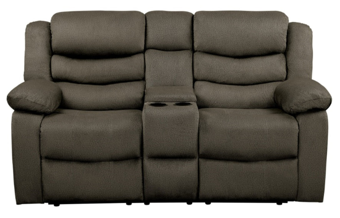 Homelegance Furniture Discus Double Reclining Loveseat in Brown 9526BR-2 image