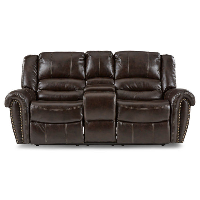 Homelegance Furniture Center Hill Double Glider Reclining Loveseat w/ Center Console in Dark Brown 9668BRW-2 image