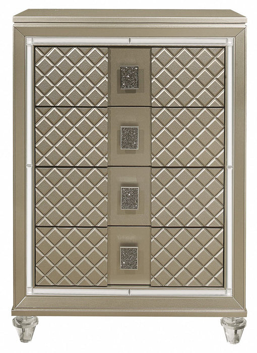 Homelegance Furniture Youth Loudon 4 Drawer Chest in Champagne Metallic B1515-9 image