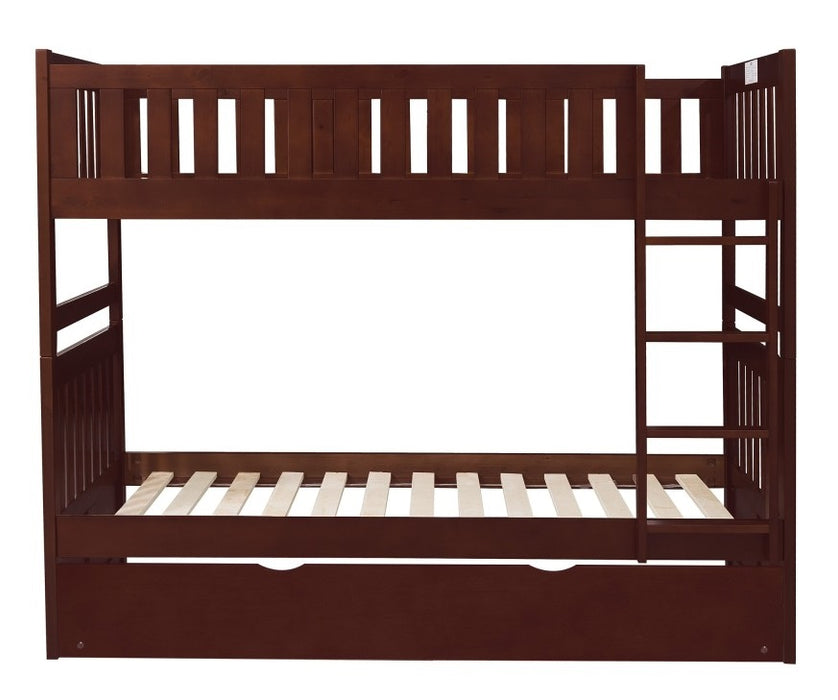 Homelegance Rowe Twin/Twin Bunk Bed w/ Twin Trundle Bed in Dark Cherry B2013DC-1*R image