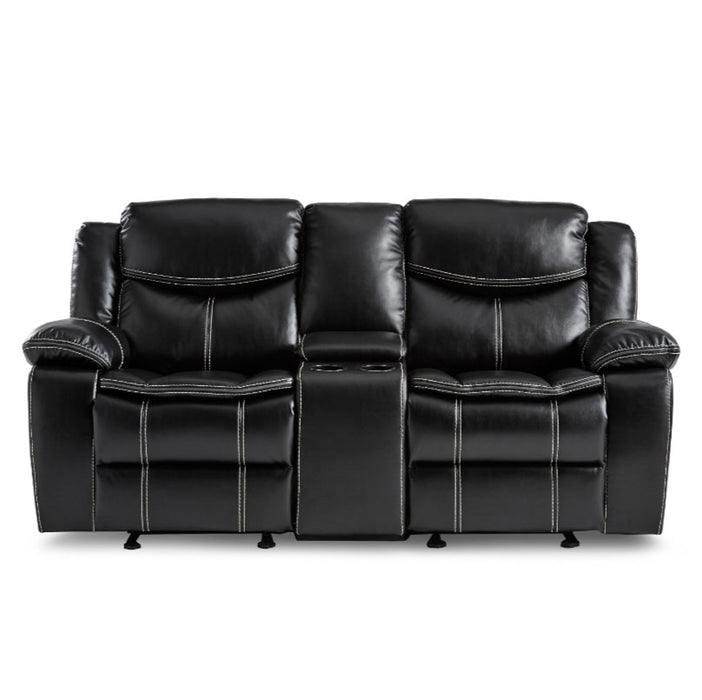 Homelegance Furniture Bastrop Double Glider Reclining Loveseat in Black 8230BLK-2 image