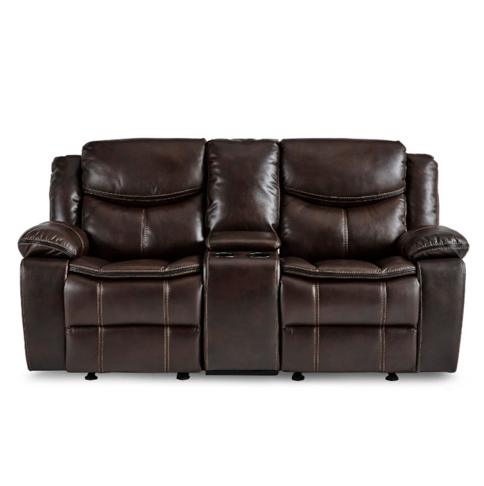 Homelegance Furniture Bastrop Double Glider Reclining Loveseat in Brown 8230BRW-2 image