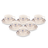 UPC Cup Saucer Sets with 6 Cups + 6 Saucer - New Modern Design Fine Bone China Ceramics Tableware, Premium Light Tea/Coffee Cups (Set of 6 Cups + 6 Saucer in a Box) *Made in India*