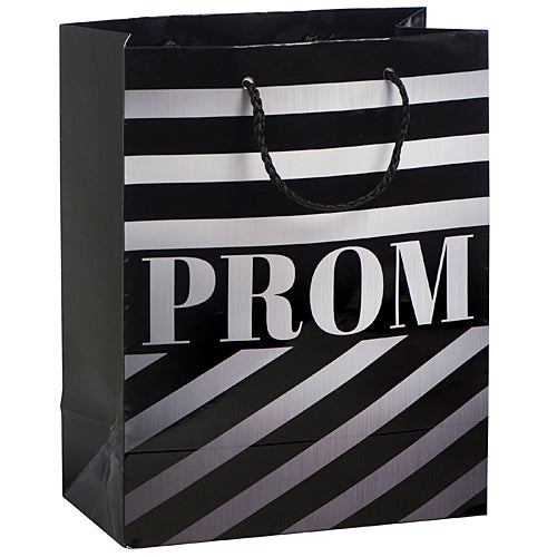 Large Prom Silver Stripe Gift Bag