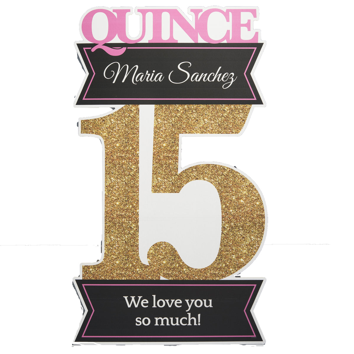 5 ft. 11 in. Quinceanera Gold Number Standee