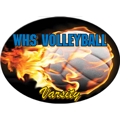 Flaming Volleyball Oval White Static Decal