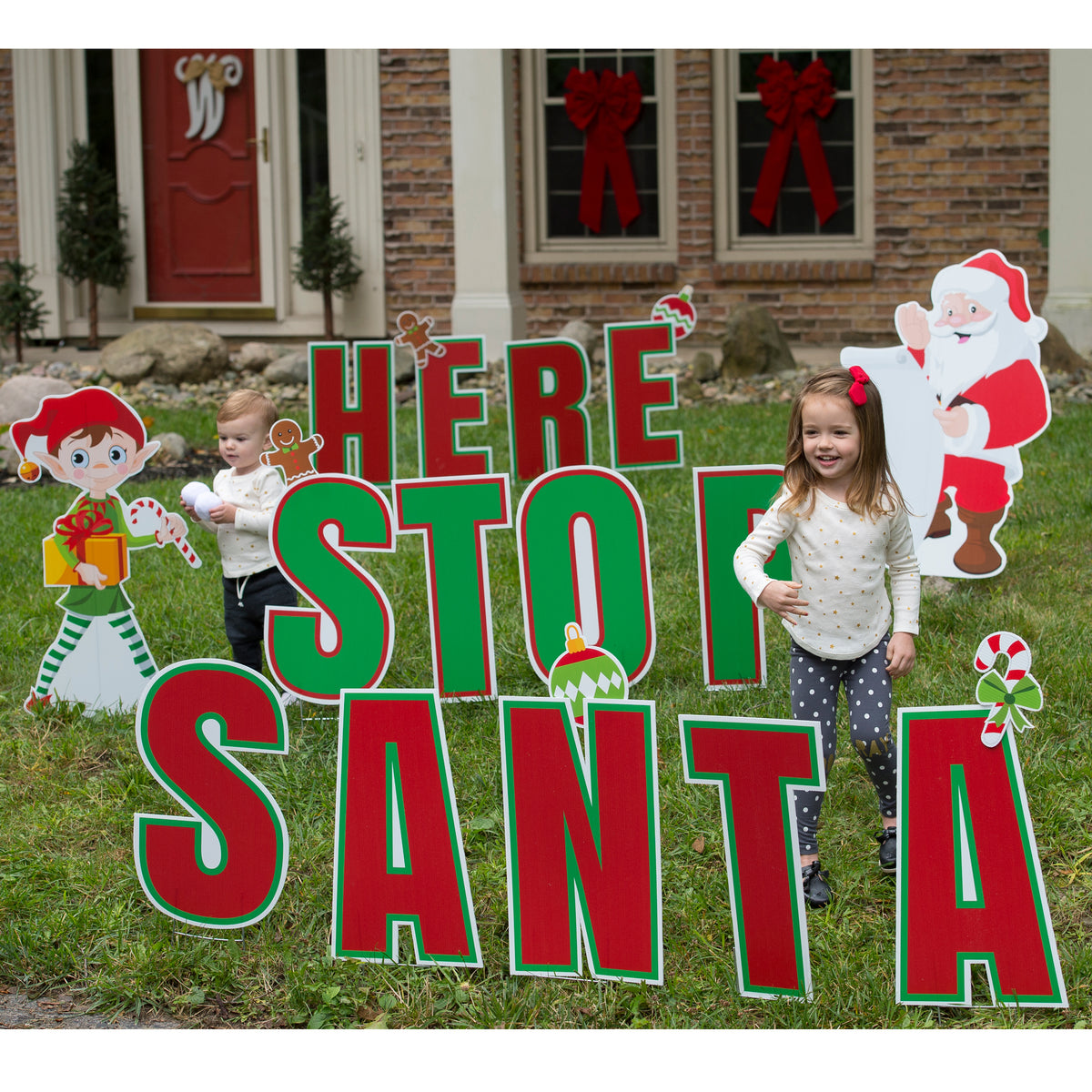 Santa Stop Here Yard Sign Expression Set/32