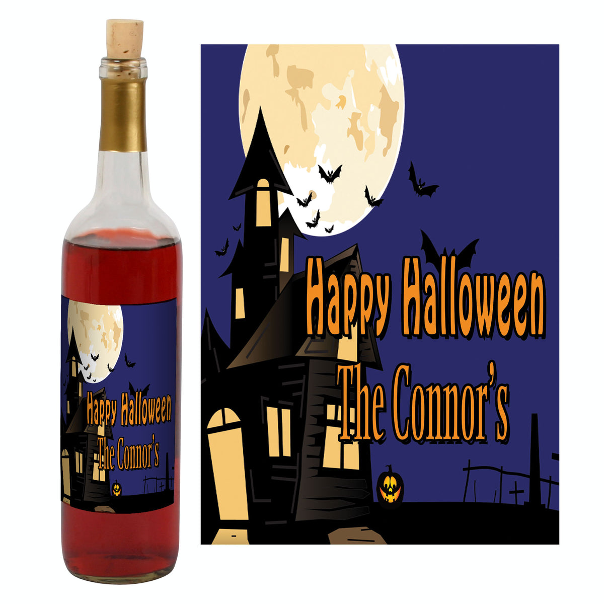 Haunted House Wine Bottle Label