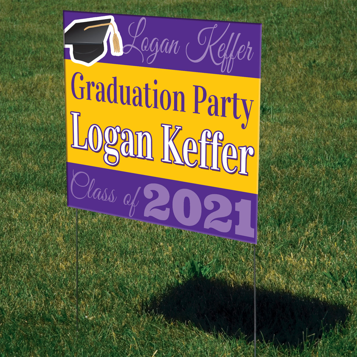 Graduation Mortar Board Personalized Yard Sign