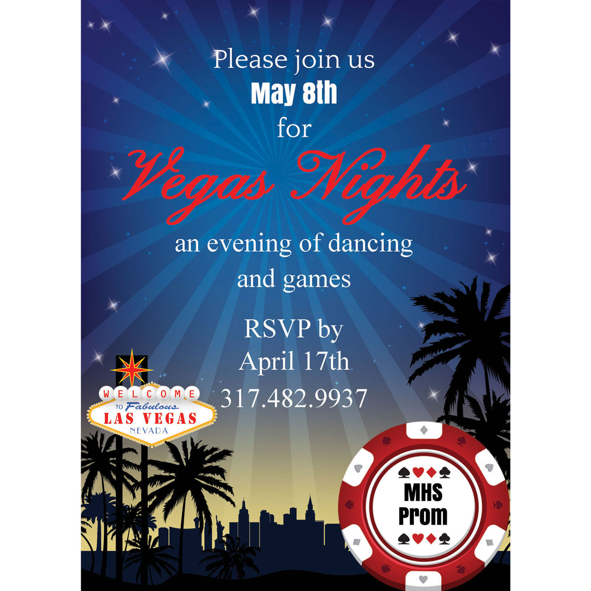 Vegas Nights Personalized Invitations
