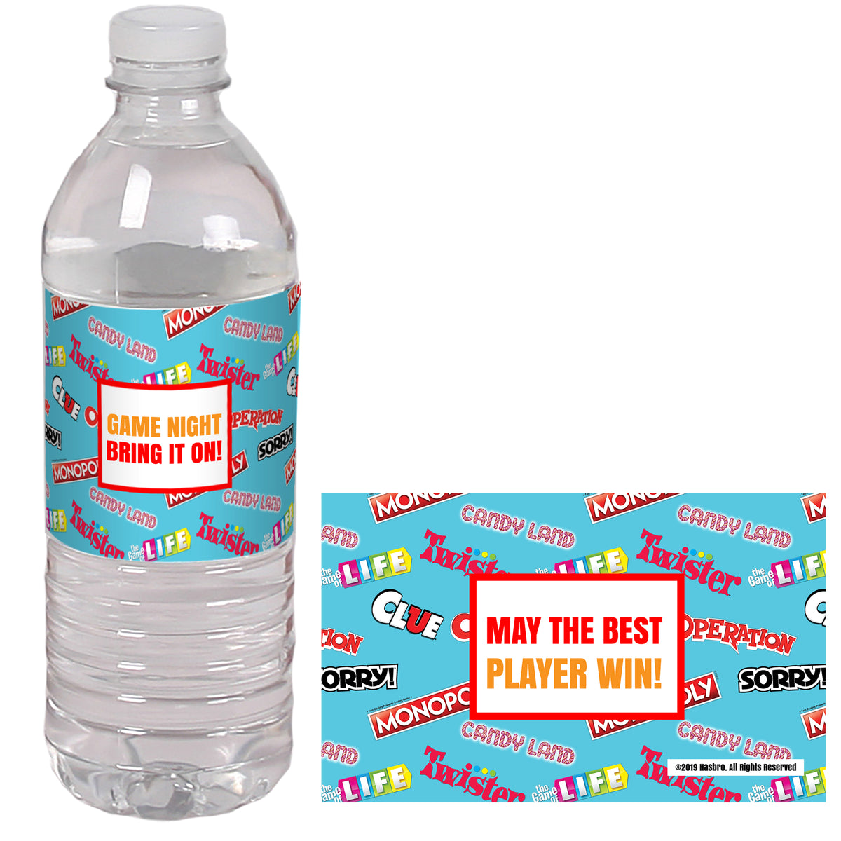 Hasbro Game Night Collection Personalized Water Bottle Labels