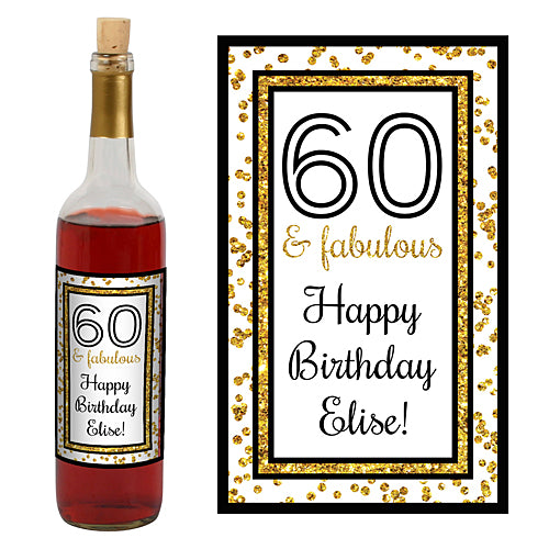 Cheers to You Gold 60 Wine Bottle Label