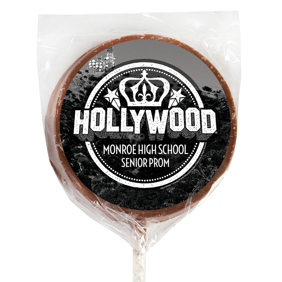 Hollywood Hills Sign Milk Chocolate Lollipop