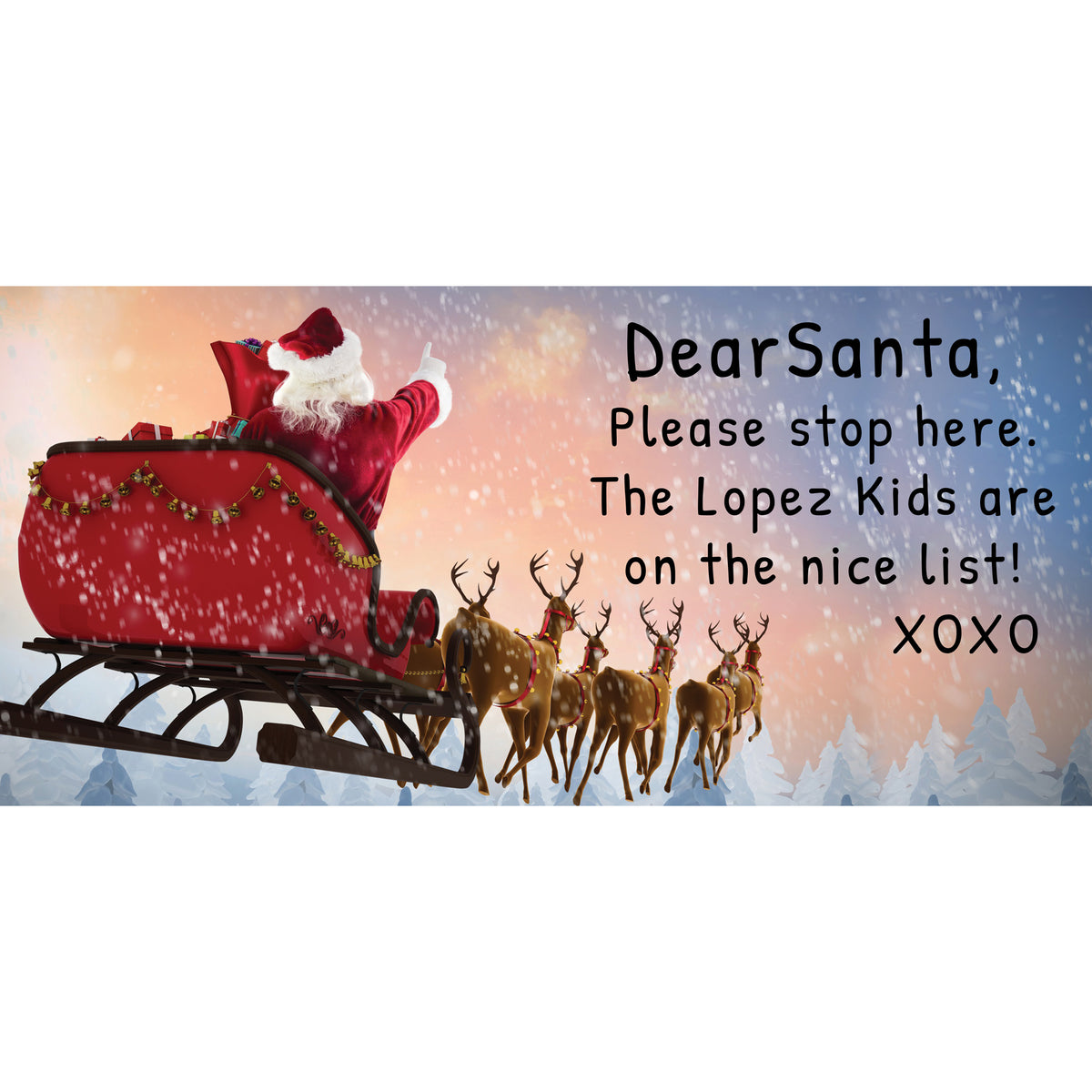 Santa Stop Here Garage Door Banner