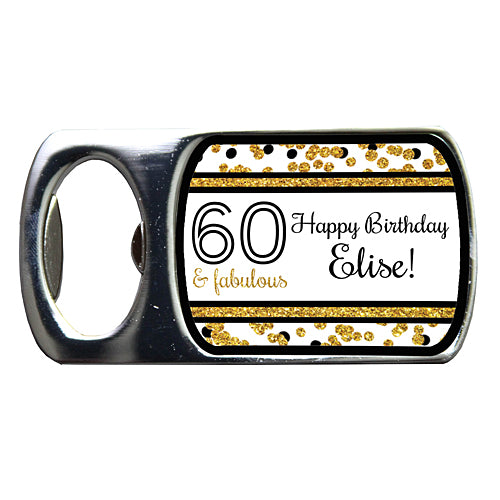 Cheers to You Gold 60 Personalized Bottle Opener