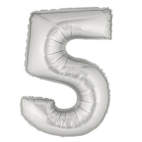 Silver Number 5 Mylar Balloon