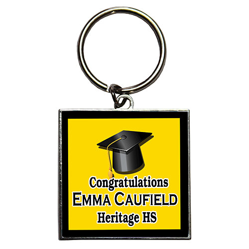 Graduation Cap Custom Dome Key Chains