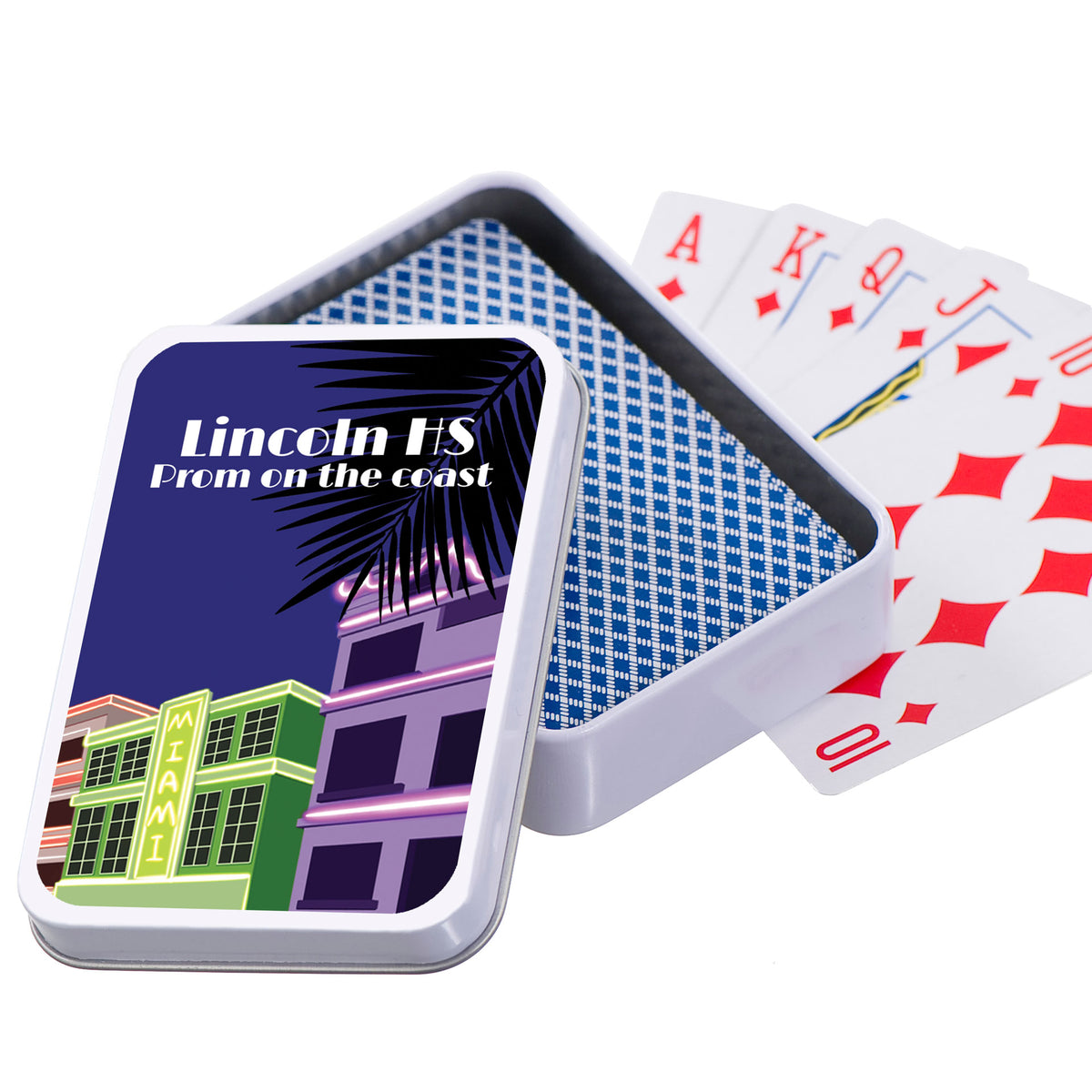 Miami Beach Vibes Playing Cards with Personalized Case