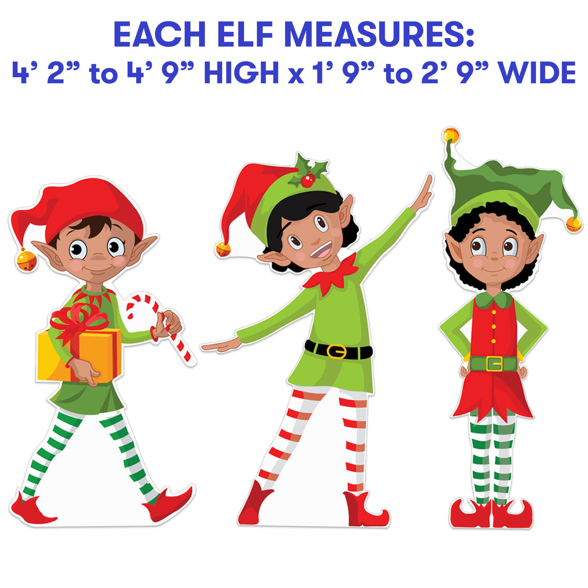 4 ft. 2 in. to 4 ft. 9 in. Elfville Jolly Removeable Wall Decal Set