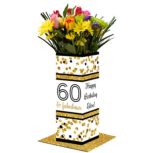 Cheers to You Gold 60 Personalized Centerpiece