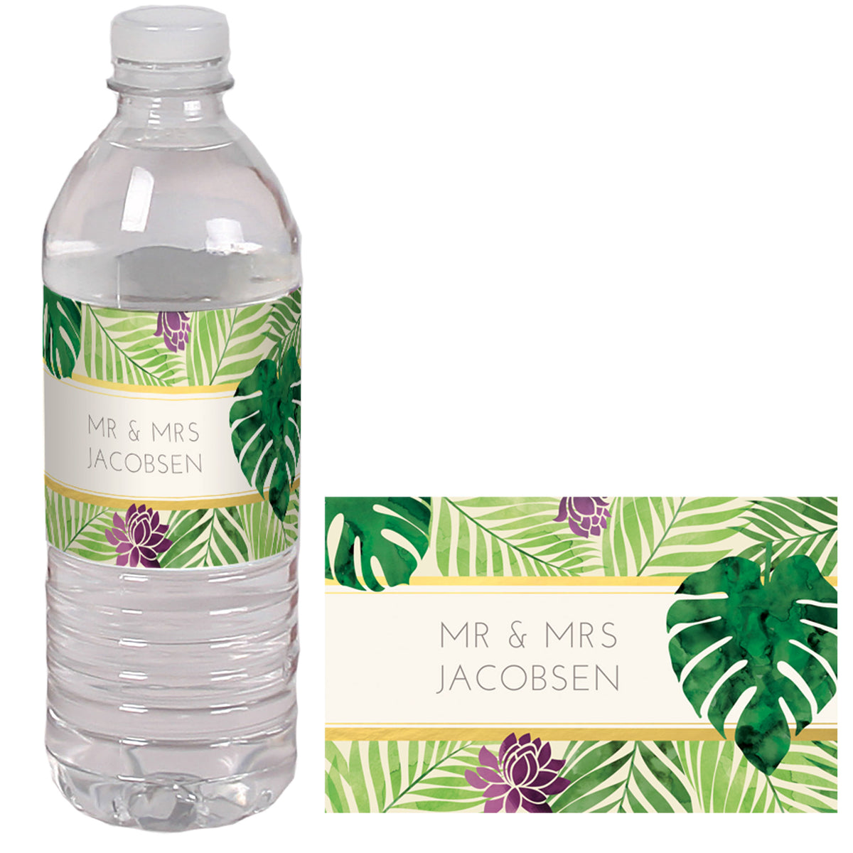 Tropical Elegance Water Bottle Labels