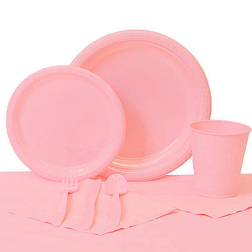 Classic Pink Plastic Party Pack For 20
