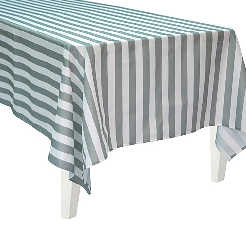 Gray Striped Rectangle Table Cover