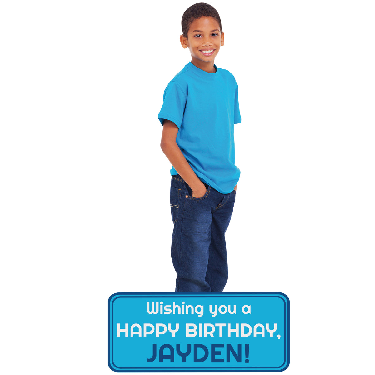 4 ft. Boy Birthday Lifesize Standee with Custom Sign