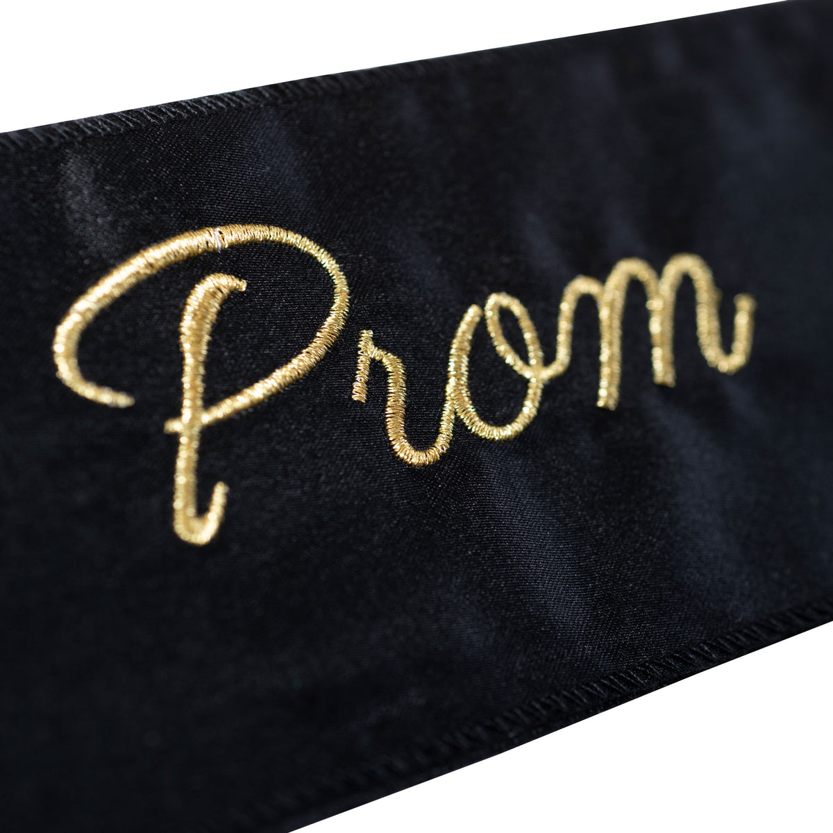 Black & Gold Embroidered Prom Court Sash