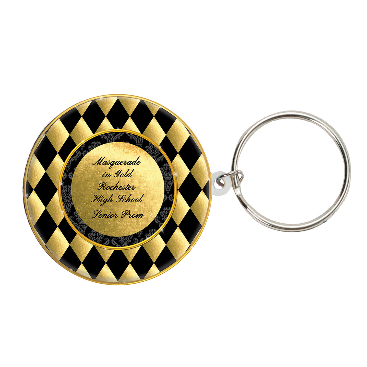 Black & Gold Masquerade Personalized Key Chain