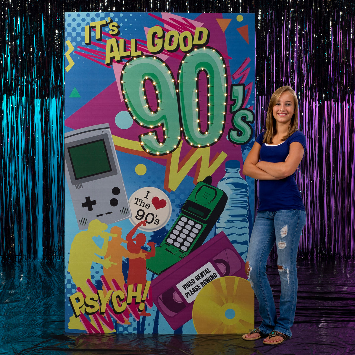 7 ft. Through the Decades 90's Lighted Background