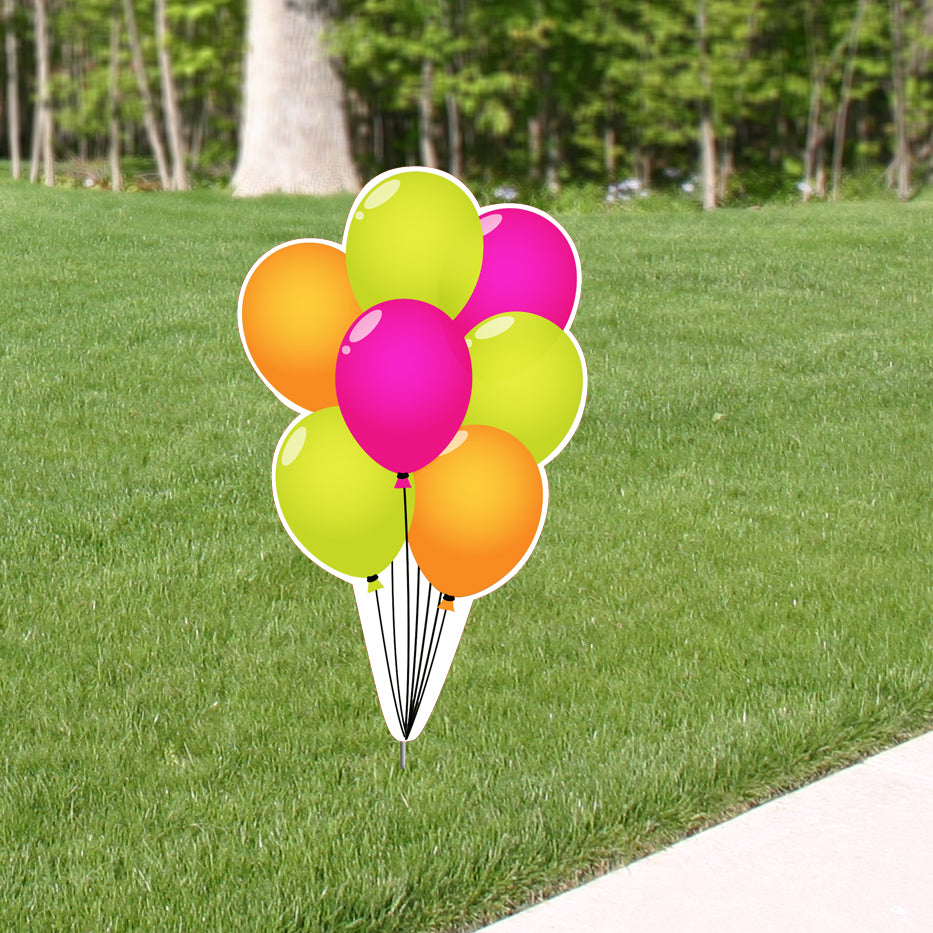 3 ft. Poppin' Pink Balloon Bunch Yard Sign