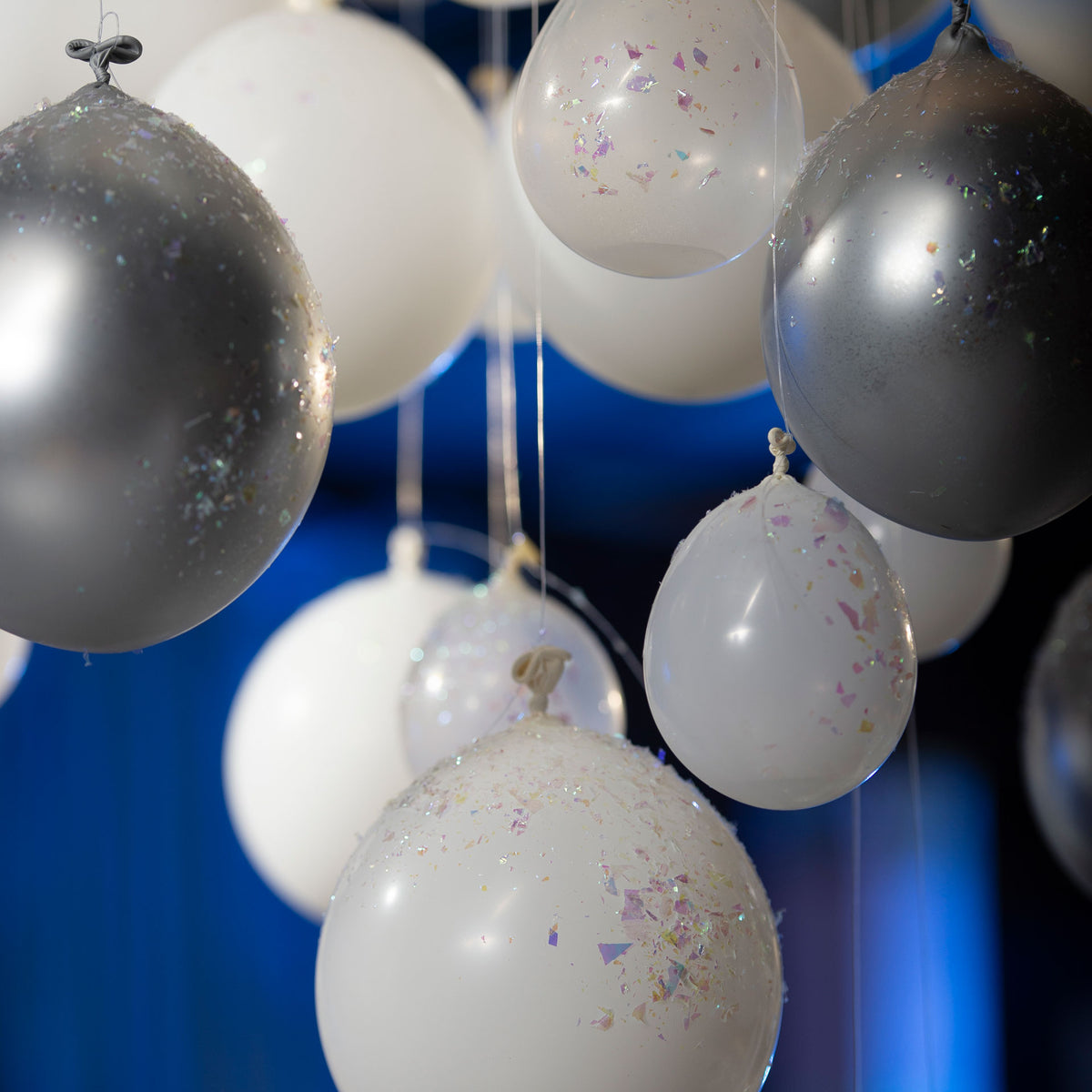 5 ft. Lighted White & Silver Balloon Chandelier