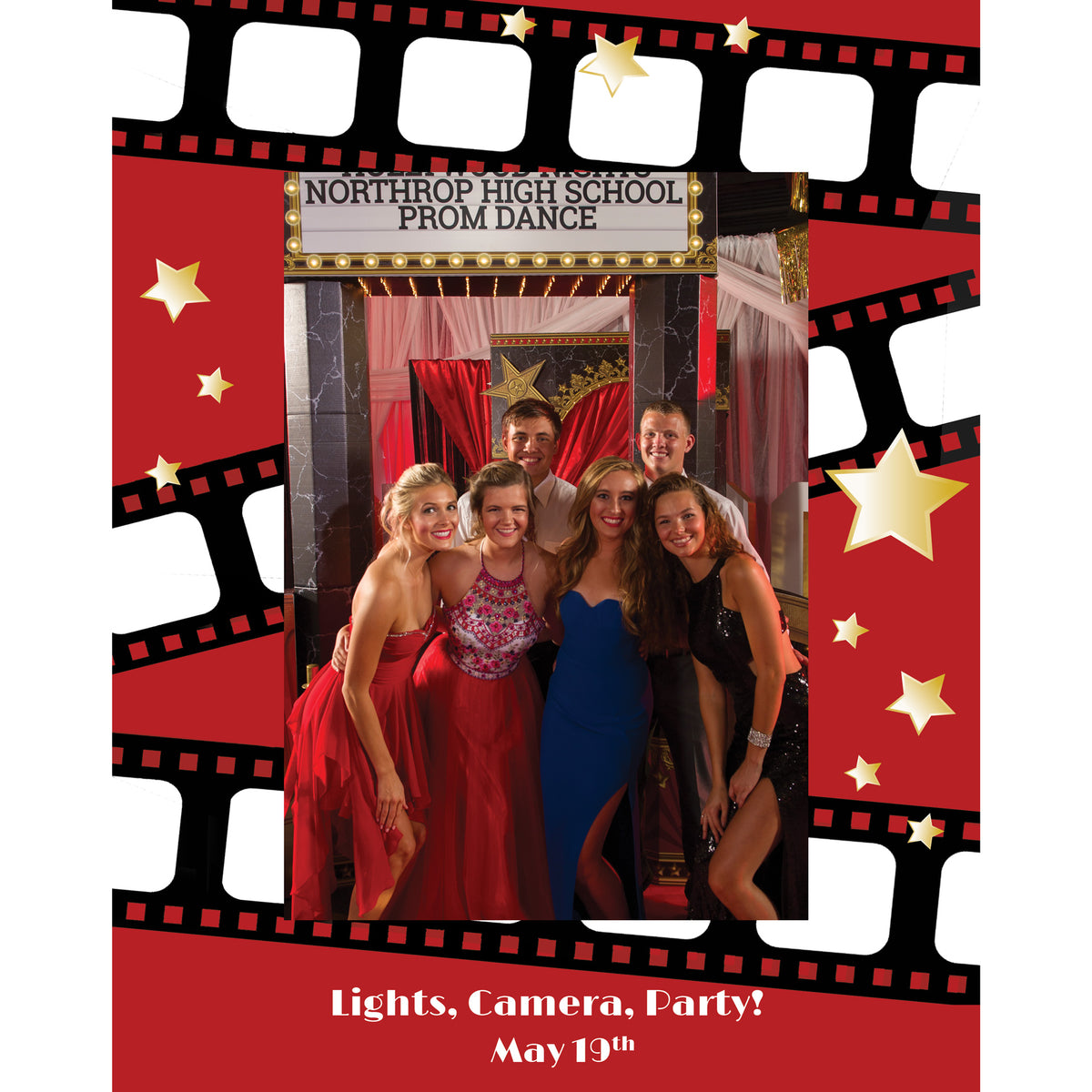 Lights, Camera, Party! Personalized Glass Frame