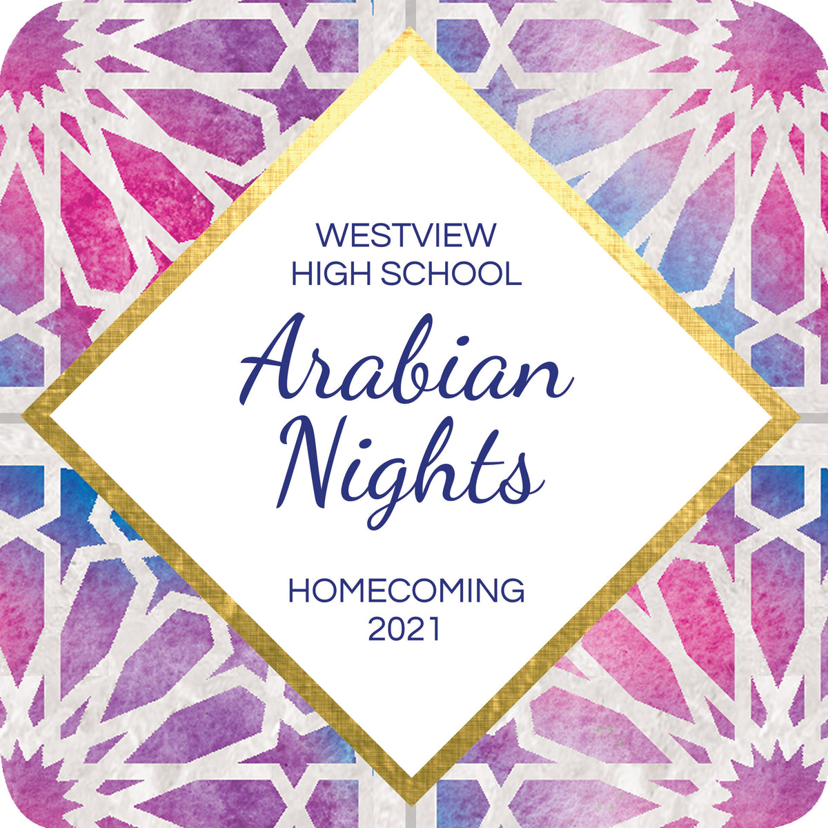 Arabian Nights Personalized Square Sticker