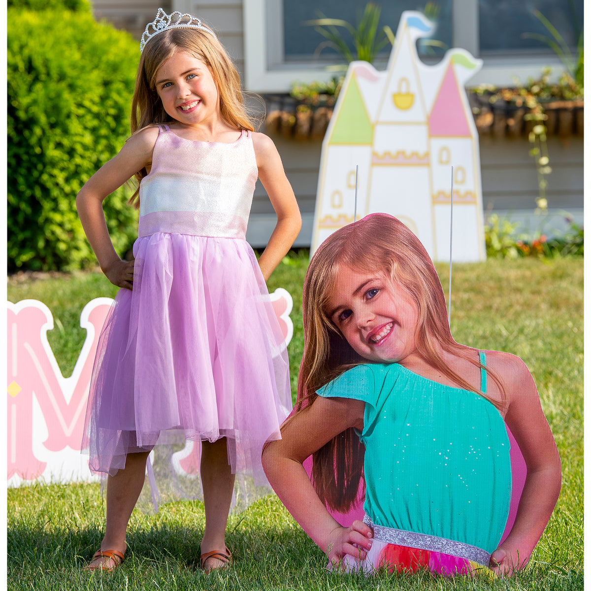 24 in. to 36 in. Girl Birthday Custom Photo Cutout Yard Sign
