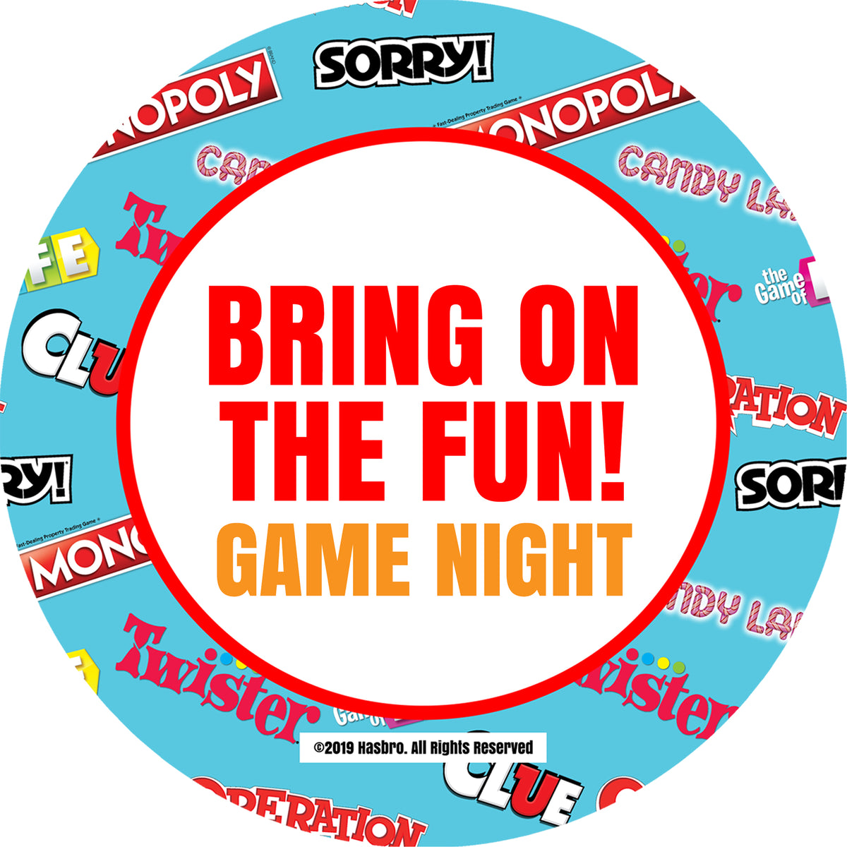Hasbro Game Night Collection Personalized Sticker