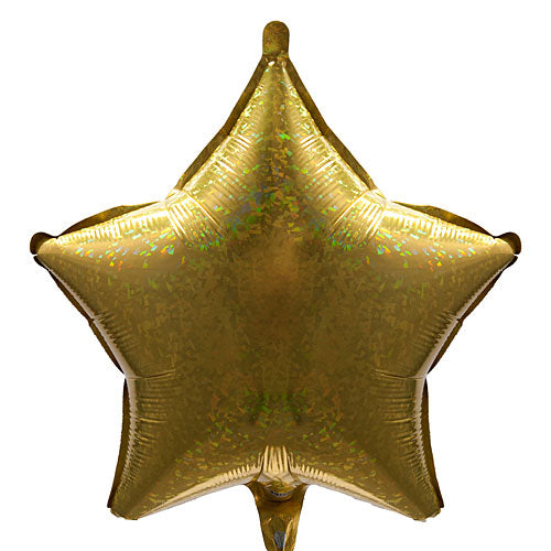 Gold Holographic Star Shaped Mylar Balloon