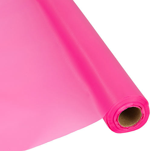 Candy Pink Plastic Table Cover Roll