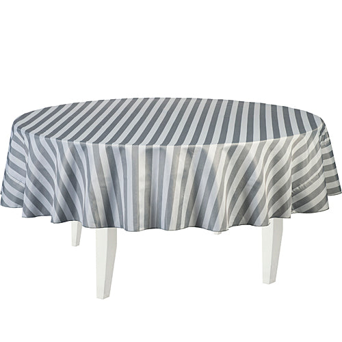 Gray Striped Round Table Cover