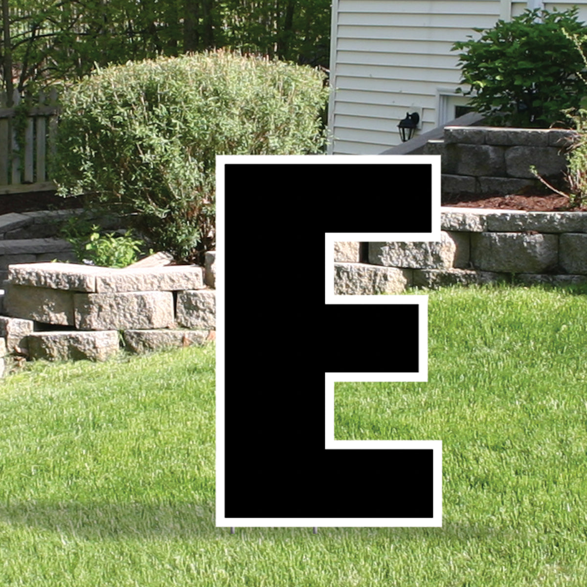 Black Yard Sign Expression Letter E