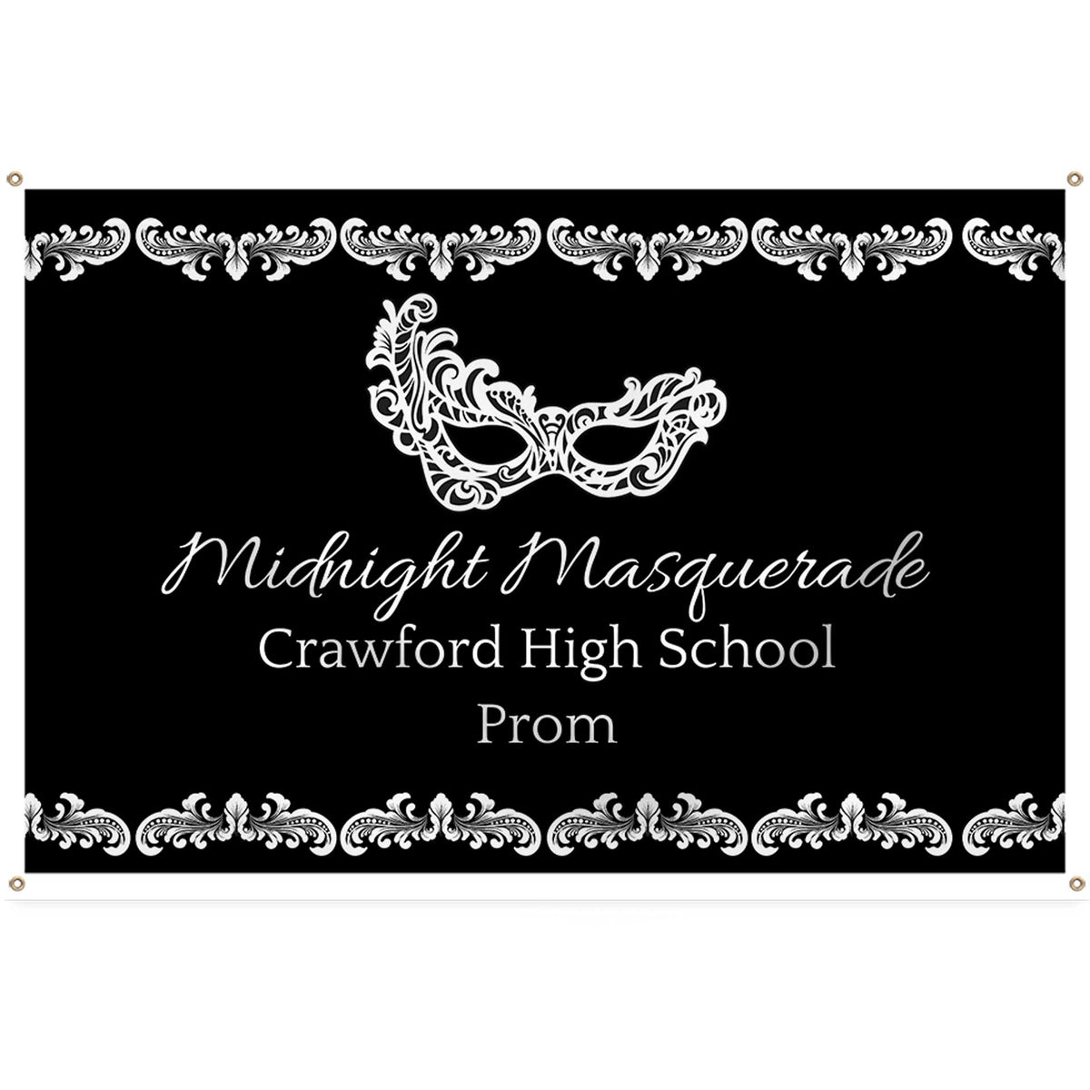Black & White Masquerade Personalized Rectangle Banner
