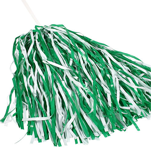 Kelly Green And White Spirit Pom Poms