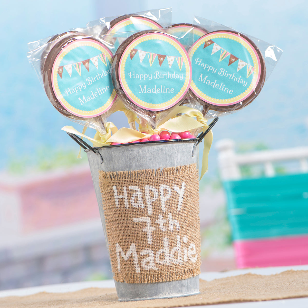 Frosted Wonderland Personalized Milk Chocolate Lollipop