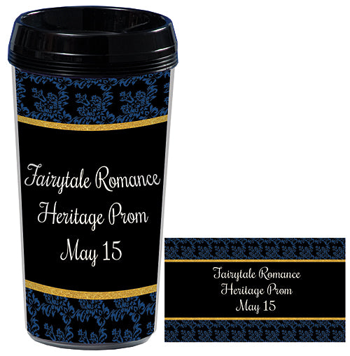 Midnight Blue Fairytale Romance Travel Mugs