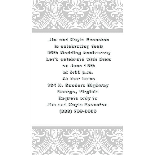 Silver Damask Personalized Invitations